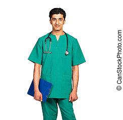 ritratto, di, dottore, arabo, nazionalità, con, salute,...