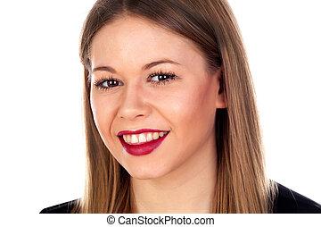 ritratto, di, elegante, ragazza, con, labbra rossi