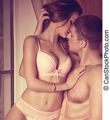ritratto, di, felice, coppia amorosa