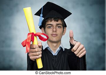 ritratto, di, giovane, a, graduazione
