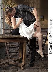ritratto, di, giovane coppia, amore, proposta