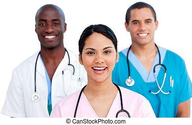 ritratto, di, giovane, squadra medica