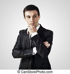 ritratto, di, giovane, uomo affari