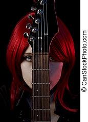 ritratto, di, gotico, ragazza, con, chitarra