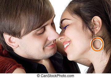 ritratto, di, il, bello, giovane, coppia., isolato