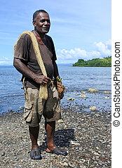 ritratto, di, indigeno, fijian, pescatore, andare, pesca, in, figi