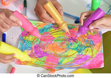 ritratto, di, mani, di, persone, pittura, colorito, immagine