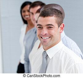 ritratto, di, positivo, squadra affari
