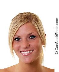 ritratto, di, sorridente, giovane, biondo, donna, occhi blu