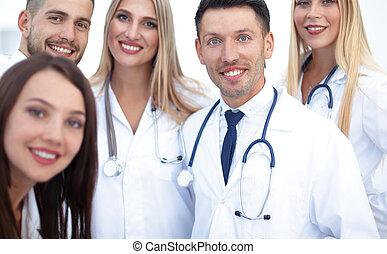 ritratto, di, sorridente, squadra medica