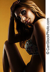 ritratto, di, squisito, donna, in, elegante, biancheria intima