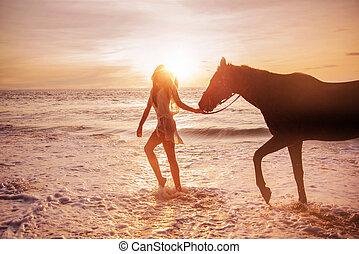 ritratto, di, un, allettante, donna, con, uno, cavallo