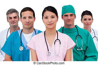 ritratto, di, un, assertivo, squadra medica