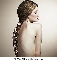 ritratto, di, uno, bella donna, con, fiori, in, lei, capelli