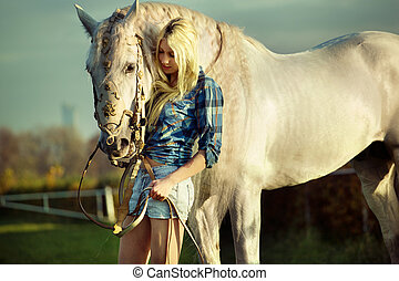 ritratto, di, uno, bellezza, blondie, con, cavallo