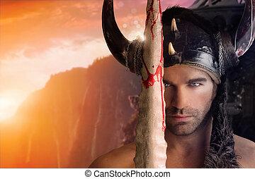 ritratto, di, uno, bello, giovane, guerriero, presa a terra, spada, con, fantasia, fondo