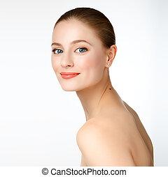 ritratto, di, uno, bello, giovane ragazza, modello, con, pulito, pelle, e, blu