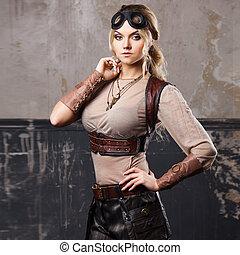 ritratto, di, uno, bello, steampunk, donna, in, aviatore,...