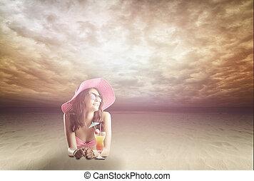 ritratto, di, uno, donna, in, occhiali, il, spiaggia