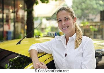 ritratto, di, uno, femmina, tassista, con, lei, nuovo, taxi