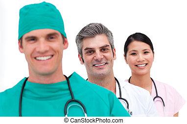 ritratto, di, uno, fiducioso, squadra medica