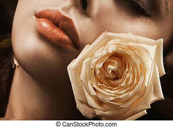 ritratto, di, uno, giovane, bellezza, con, rosa