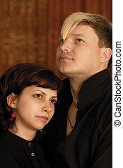 ritratto, di, uno, giovane coppia