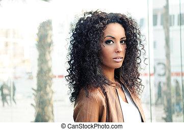 ritratto, di, uno, giovane, donna nera, modello, di, moda