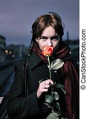 ritratto, di, uno, giovane, rosso, donna, con, fresco, rosso sorto, in, san pietroburgo, russia.