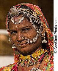 ritratto, di, uno, india, rajasthani, donna