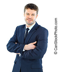 ritratto, di, uno, riuscito, maturo, uomo affari, standing, con, piegato, mano, sfondo bianco