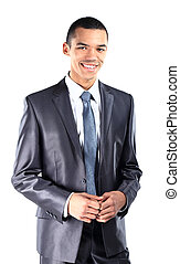 ritratto, di, uno, soddisfatto, giovane, americano africano, uomo affari