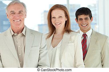 ritratto, di, uno, sorridente, squadra affari