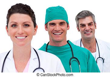 ritratto, di, uno, sorridente, squadra medica