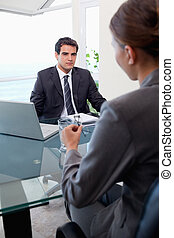 ritratto, di, uno, squadra affari, durante, uno, riunione