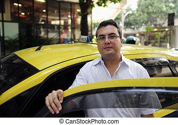 ritratto, di, uno, tassista, con, taxi