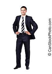 ritratto, di, uno, uomo affari, isolato, bianco, fondo