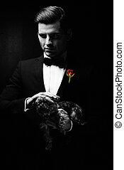 ritratto, di, uomo, con, cane, godfather-like, character.