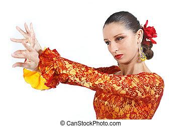 ritratto, donna, ballerino, flamenco