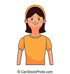 ritratto, donna, brunetta, avatar