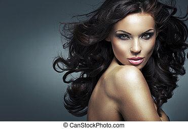 ritratto, donna, brunetta, giovane