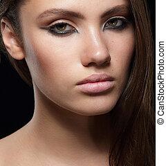 ritratto, donna, closeup, giovane, sensuale