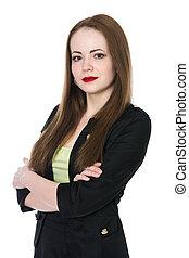 ritratto, donna, giovane, affari