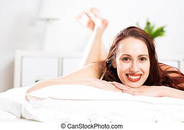 ritratto, donna, giovane, camera letto