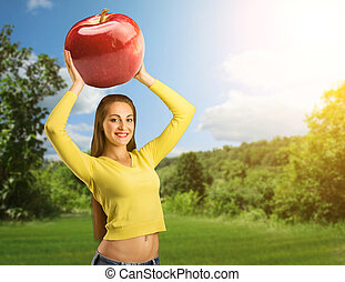 ritratto, donna, mela, rosso, giovane