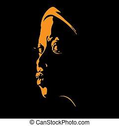 ritratto, donna, silhouette, controluce, africano