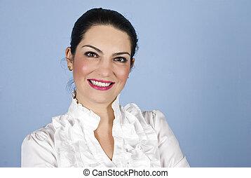 ritratto, donna sorridente, affari