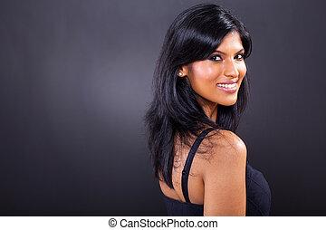 ritratto, donna sorridente, giovane, carino
