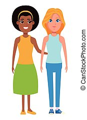 ritratto, donne, carattere, cartone animato, avatar