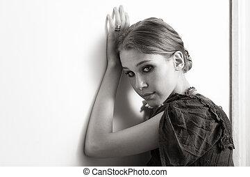 ritratto, elegante, donna, giovane, artistico